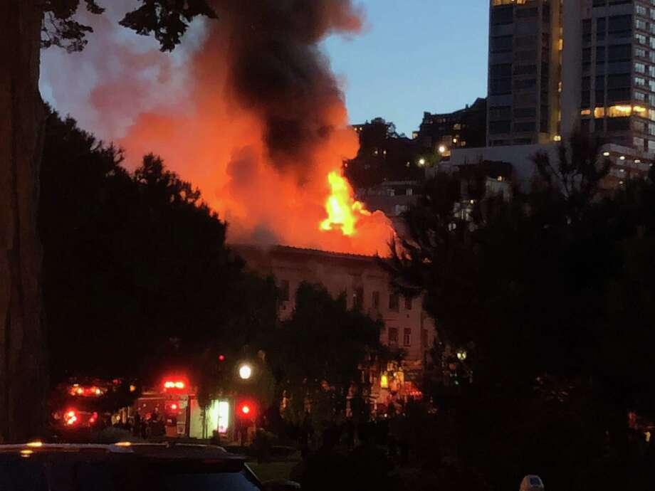 A huge fire raged through a building at 659 Union St. near Powell Street.in San Francisco's North Beach. Photo: Karen Orsie McCarthy / Karen Orsie McCarthy