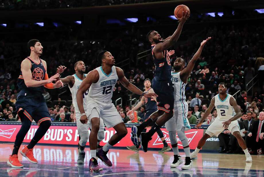 New York Knicks forward Tim Hardaway Jr. (3)  shoots against Charlotte Hornets guard Kemba Walker (15) during the third quarter of an NBA basketball game, Saturday, March 17, 2018, in New York. (AP Photo/Julie Jacobson) Photo: Julie Jacobson / Copyright 2018 The Associated Press. All rights reserved.