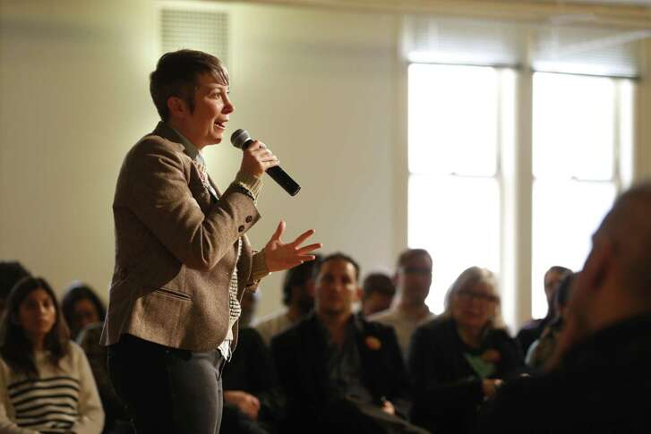 San Francisco mayoral candidate Amy Farah Weiss speaks during a housing town hall at the Kelly Cullen Community in San Francisco.
