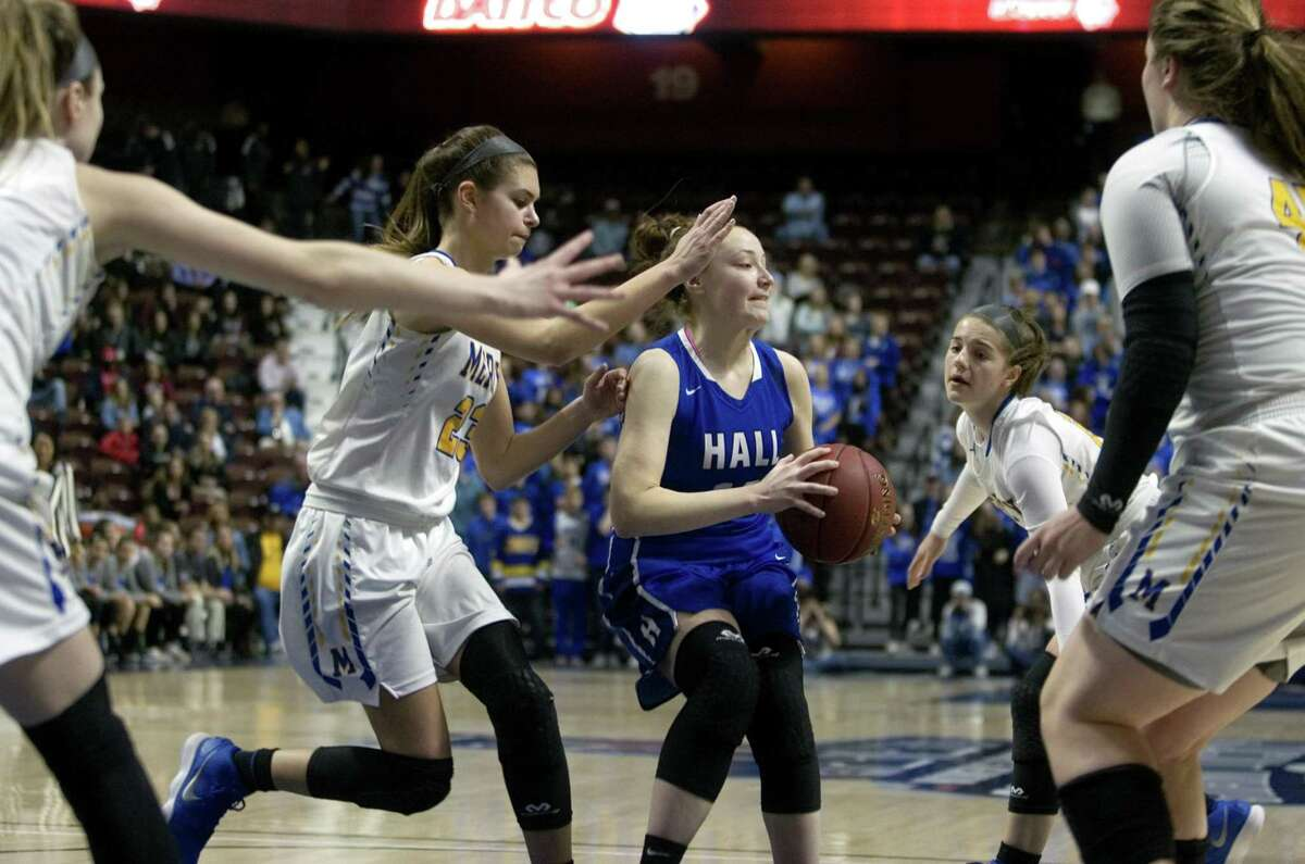 Class LL Girls Basketball Championship action between Mercy and Hall at Mohegan Sun Arena in Montville, Conn., on Saturday Mar. 17, 2018.