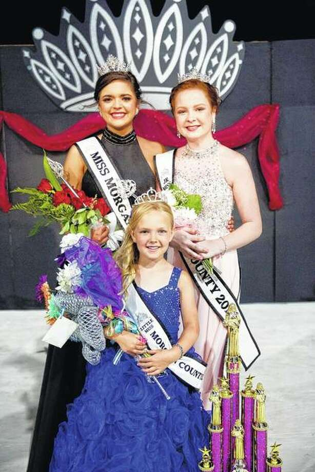 Morgan County Fair 2017 pageant winners include Queen Gracie Blu Richardson (from left), Princess Amelia Renee Pennell and Junior Miss Camille Lauren Brown. Entries for the fair's 2018 pageants are now being accepted. Photo: Warmowski Photography | Photo Provided