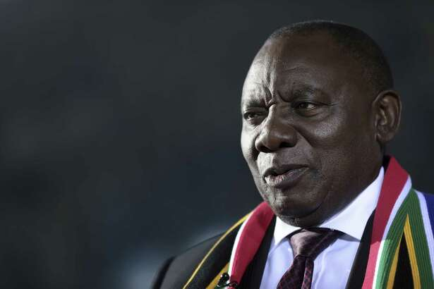 South African President Cyril Ramaphosa during a Bloomberg Television interview at the World Economic Forum in Davos, Switzerland, on Jan. 24, 2018.