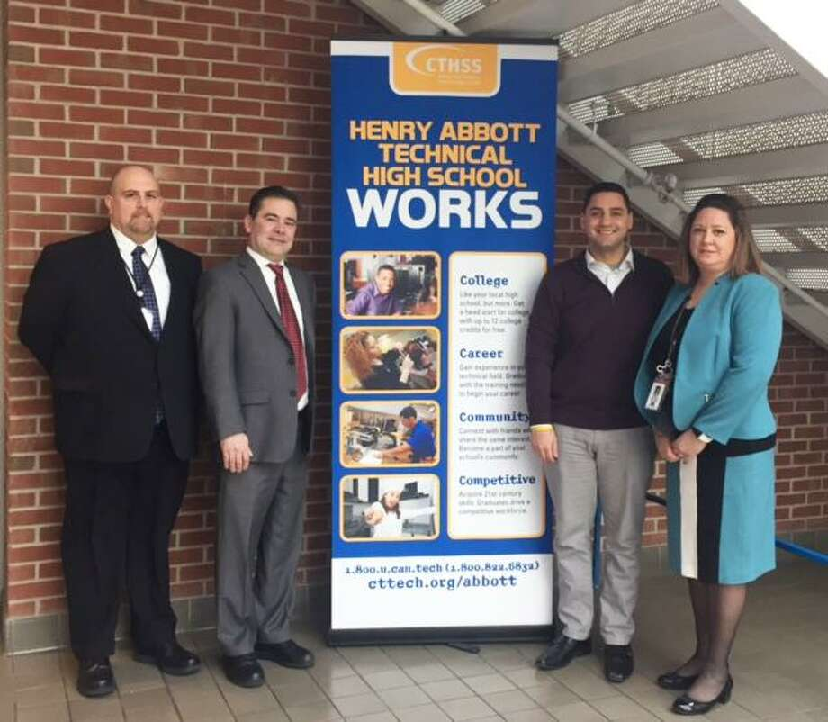 State Reps. Michael Ferguson, R-Danbury, and Will Duff, R-Bethel, visited Henry Abbott Technical High School last week to learn about the school's programs and promote bills that support manufacturing jobs. Photo: / Contributed Photo