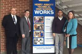 State Reps. Michael Ferguson, R-Danbury, and Will Duff, R-Bethel, visited Henry Abbott Technical High School last week to learn about the school's programs and promote bills that support manufacturing jobs.