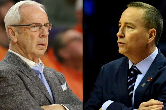 Split photo of North Carolina head coach Roy Williams and Texas A&M head coach Billy Kennedy.