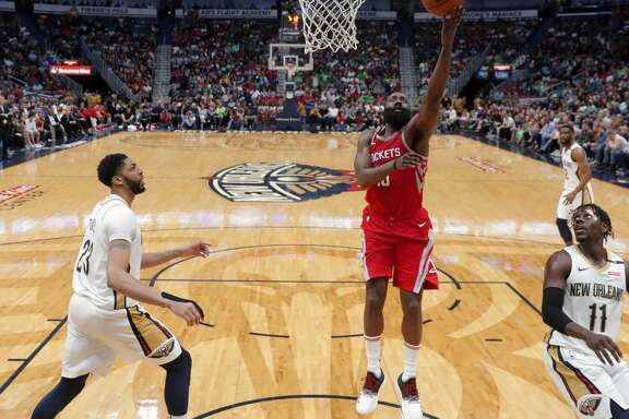 in the second half of an NBA basketball game in New Orleans, Saturday, March 17, 2018. The Rockets won 107-101. (AP Photo/Gerald Herbert)