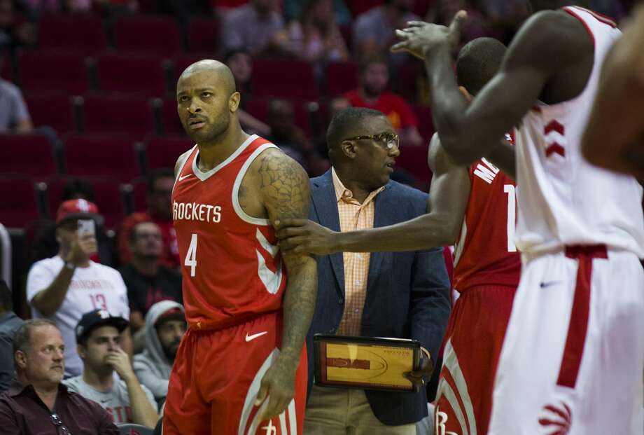 Houston Rockets forward PJ Tucker (4) disapproves of a foul called against him during the second half of the game against the Toronto Raptors, Tuesday, Nov. 14, 2017, at the Toyota Center in Houston. ( Marie D. De Jesus / Houston Chronicle ) Photo: Marie D. De Jesus/Houston Chronicle