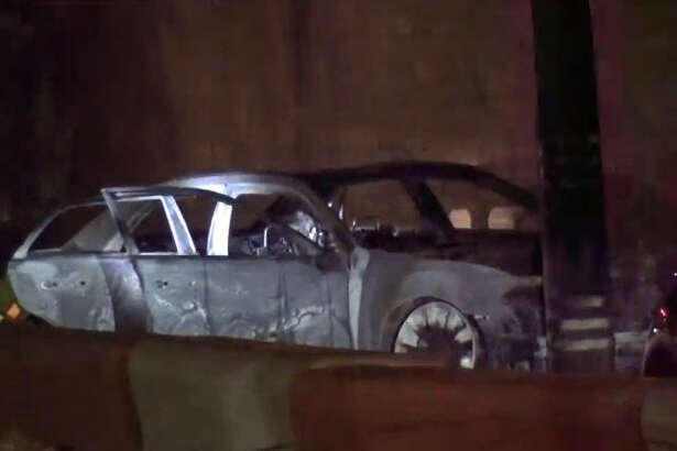 A driver was killed after a car burst into flame in a crash.  A driver was killed after a car burst into flame in a crash.