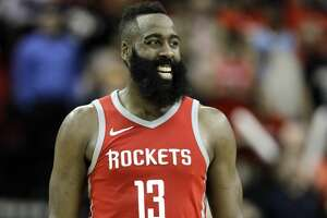 Houston Rockets' James Harden (13) smiles against the LA Clippers during the second half of an NBA basketball game Thursday, March 15, 2018, in Houston. The Rockets won 101-96. (AP Photo/David J. Phillip)