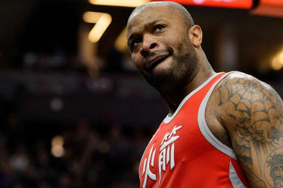 MINNEAPOLIS, MN - FEBRUARY 13: PJ Tucker #4 of the Houston Rockets looks on during the game against the Minnesota Timberwolves on February 13, 2018 at the Target Center in Minneapolis, Minnesota. NOTE TO USER: User expressly acknowledges and agrees that, by downloading and or using this Photograph, user is consenting to the terms and conditions of the Getty Images License Agreement. (Photo by Hannah Foslien/Getty Images)