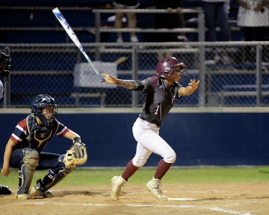Star Ferguson (1) of Kempner hits a lead off double to center field in the fifth inning of a bi-district playoff softball game between the Tompkins Falcons and the Kempner Cougars on Friday April 21, 2017 at Tompkins HS, Katy, TX. Photo: Craig Moseley, Staff / ©2017 Houston Chronicle