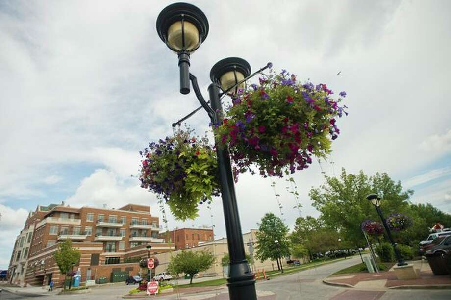 Hanging baskets were part of Midland's downtown flower display in 2017. (Katy Kildee/kkildee@mdn.net)