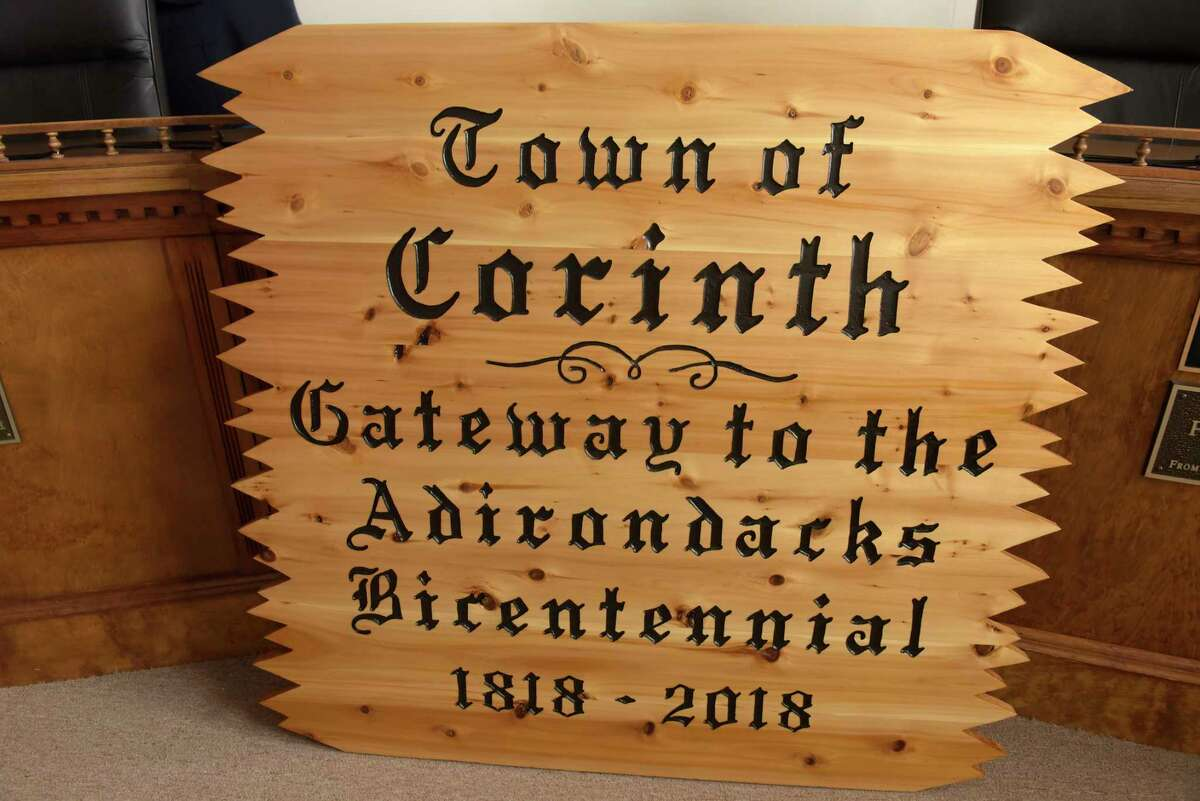 A view of one of the new town signs at Corinth Town Hall on Thursday, March 15, 2018, in Corinth, N.Y. (Paul Buckowski/Times Union)