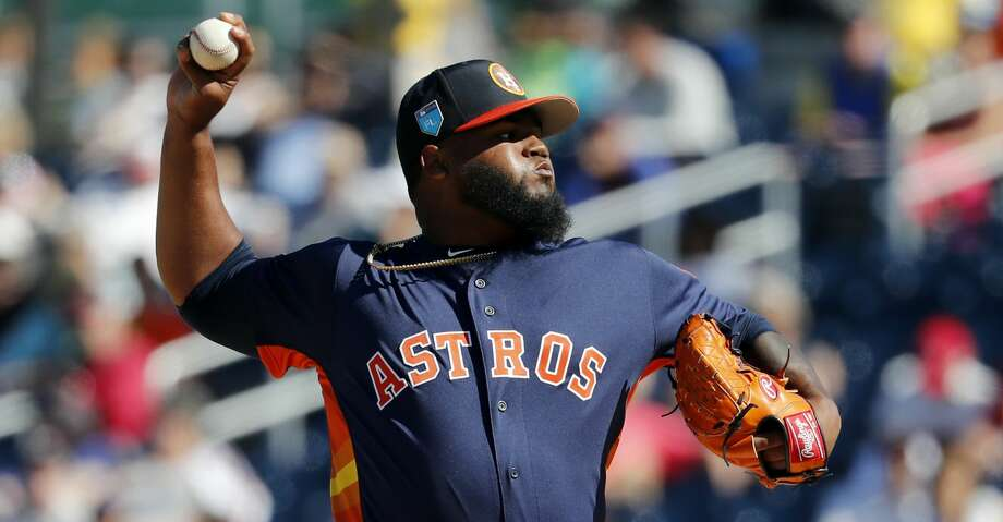 Houston Astros pitcher Francis Martes throws during the fifth inning of an exhibition spring training baseball game against the Washington Nationals Saturday, March 3, 2018, in West Palm Beach, Fla. (AP Photo/Jeff Roberson) Photo: Jeff Roberson/Associated Press