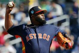 Houston Astros pitcher Francis Martes throws during the fifth inning of an exhibition spring training baseball game against the Washington Nationals Saturday, March 3, 2018, in West Palm Beach, Fla. (AP Photo/Jeff Roberson)