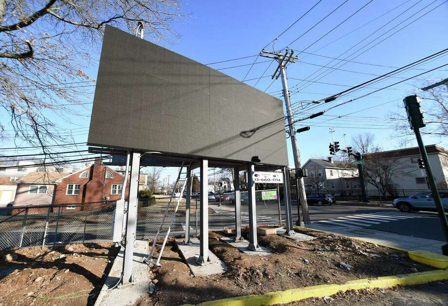 An electronic billboard photographed in February stands on Whalley Avenue at the intersection with Emerson Street in New Haven. Photo: Arnold Gold / Hearst Connecticut Media / New Haven Register