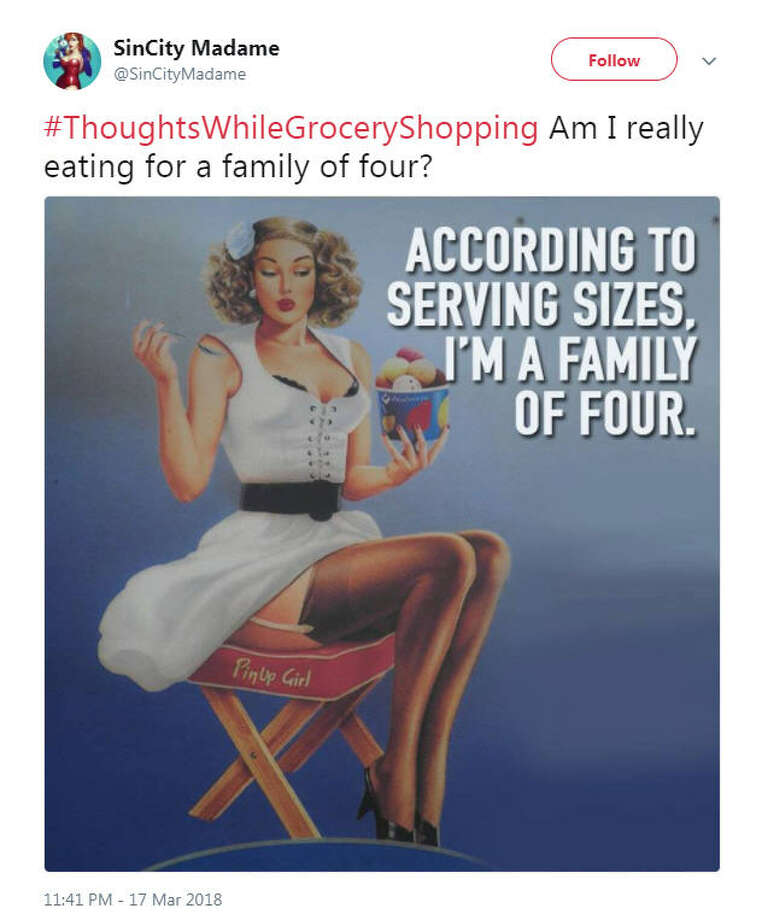 """#ThoughtsWhileGroceryShopping Am I really eating for a family of four?""Source: Twitter Photo: Twitter"
