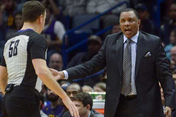 New Orleans Pelicans head coach Alvin Gentry yells at an official during an NBA basketball game against the Charlotte Hornets in New Orleans on Tuesday, March 13, 2018. New Orleans won 119-115. (AP Photo/Veronica Dominach)