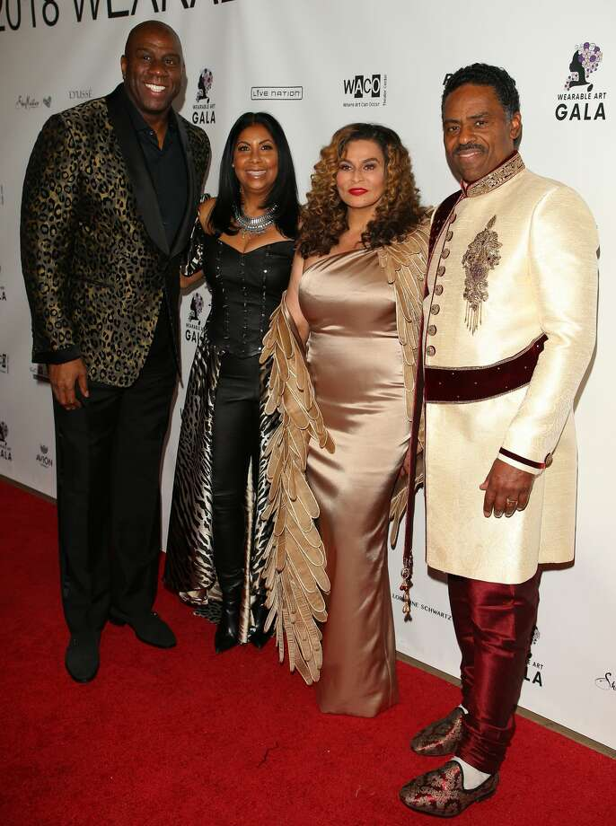 Magic Johnson, Earlitha Kelly, Tina Knowles and Richard Lawson attend WACO Theater's 2nd Annual Wearable Art Gala on March 17, 2018 in Los Angeles, California. Photo: Jean Baptiste Lacroix/WireImage