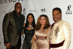 Magic Johnson, Earlitha Kelly, Tina Knowles and Richard Lawson attend WACO Theater's 2nd Annual Wearable Art Gala on March 17, 2018 in Los Angeles, California.