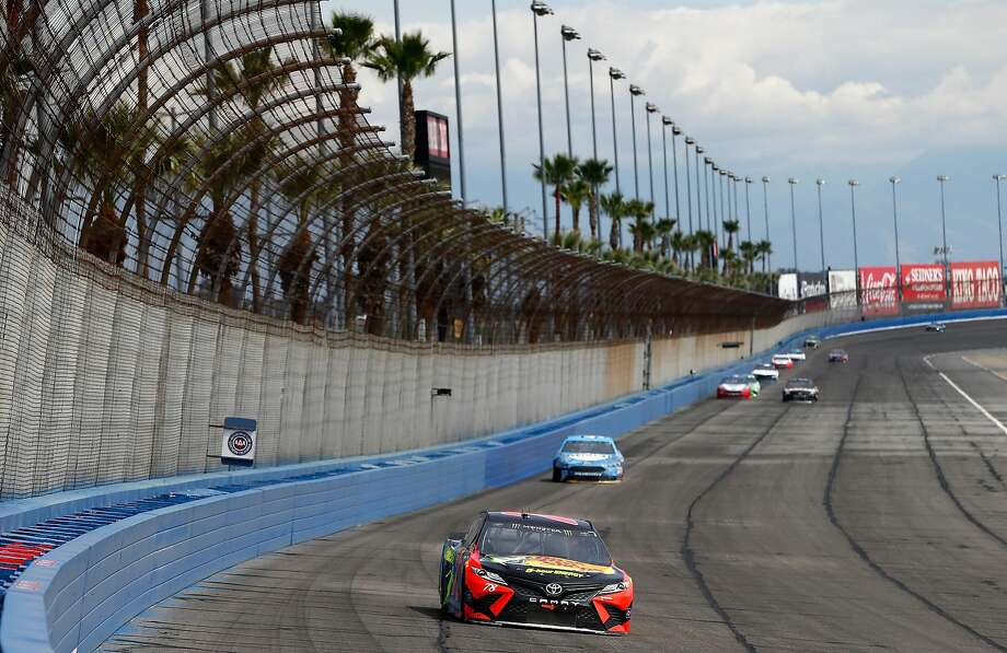 Martin Truex Jr. was out in front largely all day on a sunny Southern California afternoon at Auto Club Raceway. Photo: Jonathan Ferrey, Getty Images