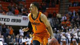 Oklahoma State guard Kendall Smith (1) during an NCAA college basketball game against Texas Tech in Stillwater, Okla., Wednesday, Feb. 21, 2018. (AP Photo/Sue Ogrocki)