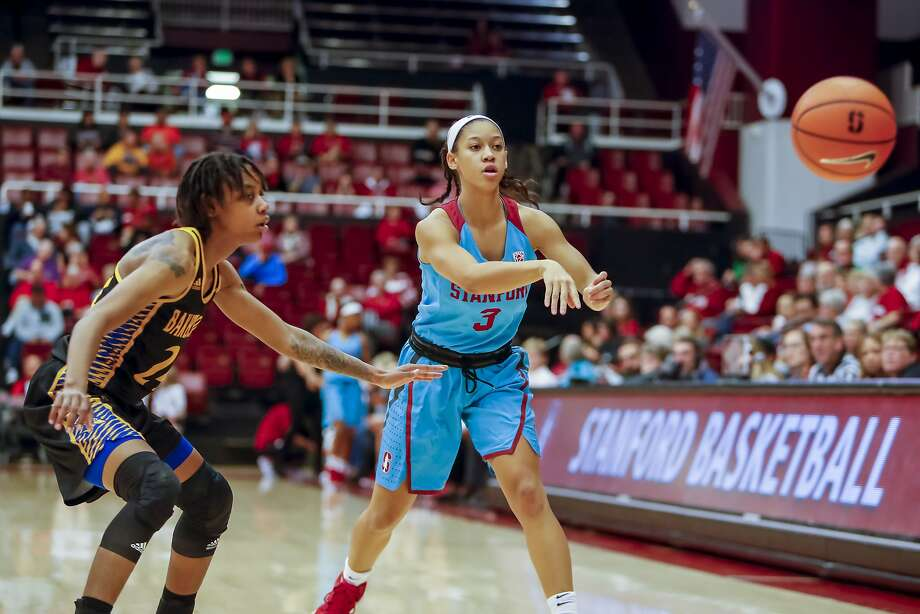 Stanford guard Anna Wilson passes against Cal State Bakersfield in November. Wilson, whose brother is the Seattle Seahawks' quarterback, scored 21 points in 19 minutes against Ohio State. Photo: Icon Sportswire, Icon Sportswire Via Getty Images