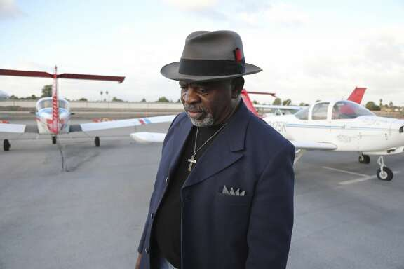 "The Rev. Stanley W. Prince, a leader of the campaign against allowing marijuana businesses in Compton, Calif., at the Compton Airport, Feb. 12, 2018. A program in Oakland that offers marijuana licenses to those with prior convictions contrasts with Compton, where voters banned marijuana sales. ""There is an economy that can be developed without having weed as the main product,"" Prince said. (Jim Wilson/The New York Times)"