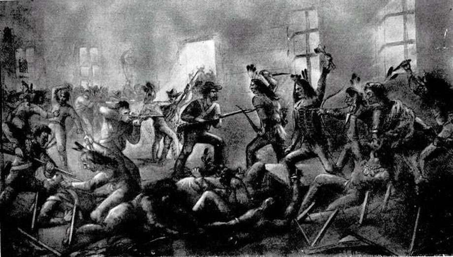 An illustration of the Council House Fight between Texas settlers and a Comanche delegation. Photo: Courtesy Bexar County Parks Division