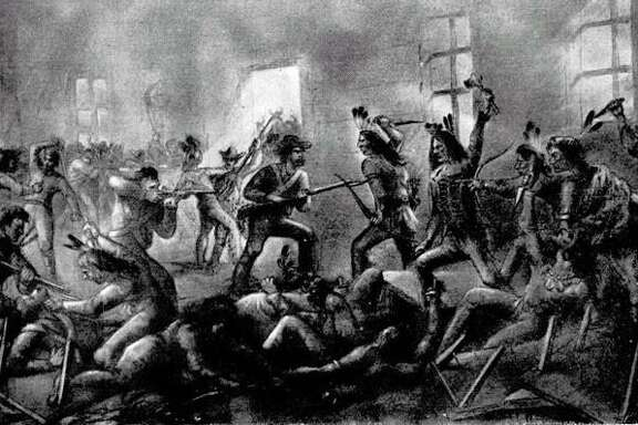 An illustration of the Council House Fight between Texas settlers and a Comanche delegation.