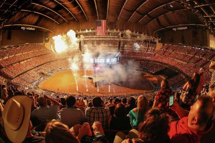 Fireworks light up NRG  Stadium prior to the Garth Brooks concert at RodeoHouston  Sunday, March 18, 2018, in Houston.