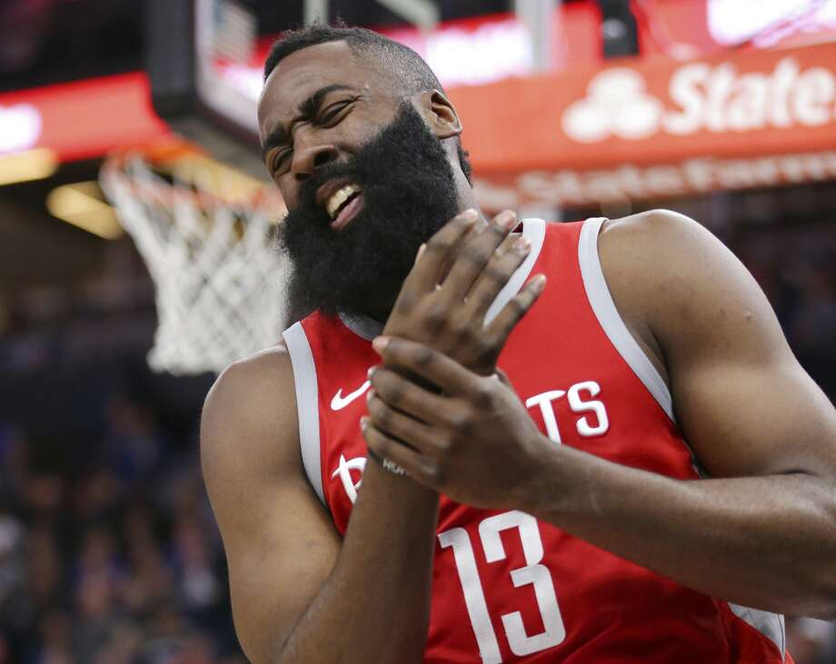 A right hand aliment to James Harden wasn't enough to keep the Rockets from sweeping a back-to-back set in New Orleans and Minneapolis. Photo: Andy Clayton-King/Associated Press