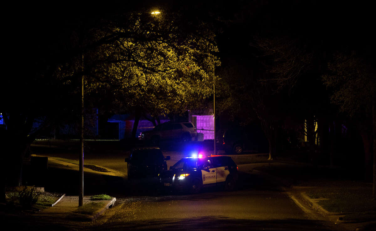 A police vehicle blocks a road leading to the scene of an explosion, Sunday, March 18, 2018, in Austin, Texas. (Nick Wagner/Austin American-Statesman via AP)