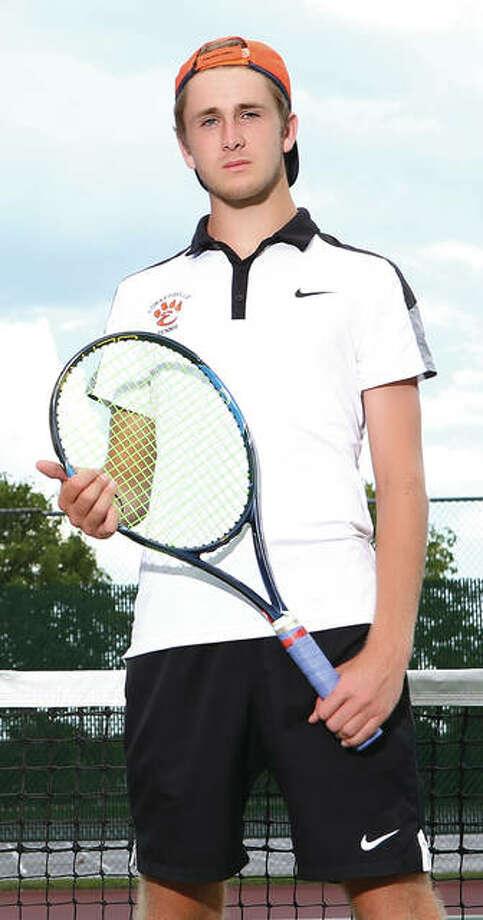 Edwardsville senior Alex Gray returns for his senior season as a state champion for Tigers tennis. Photo: Billy Hurst / Telegraph File Photo