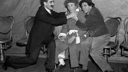 "Groucho, Harpo and Chico Marx perform ""A Day at the Races"" at the Golden Gate Theatre on Aug. 18, 1936."