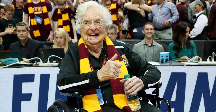 DALLAS, TX - MARCH 17:  Sister Jean Dolores-Schmidt celebrates after the Loyola Ramblers beat the Tennessee Volunteers 63-62 in the second round of the 2018 NCAA Tournament at the American Airlines Center on March 17, 2018 in Dallas, Texas.  (Photo by Tom Pennington/Getty Images) Photo: Tom Pennington/Getty Images