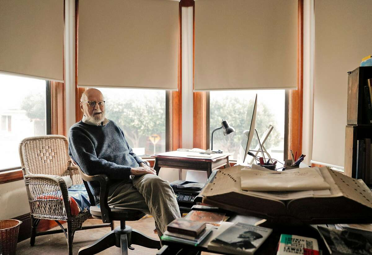 Lawrence Ferlinghetti at his North Beach apartment, his home for the past 38 years.