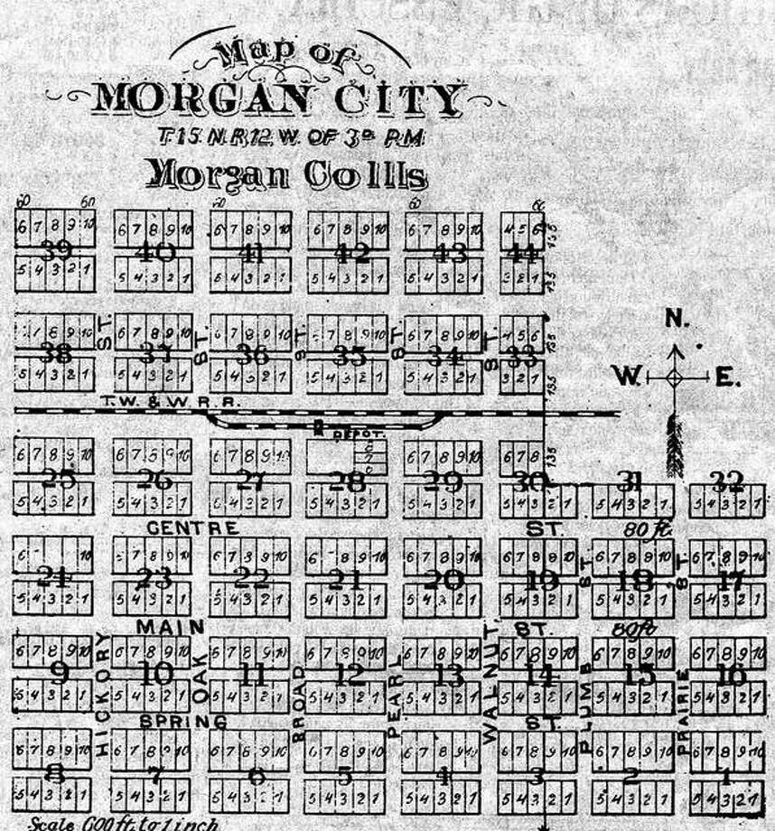 Morgan City was a Morgan County town that never really developed. This is an 1872 plat map of the town, which was about 2 miles west of Chapin.
