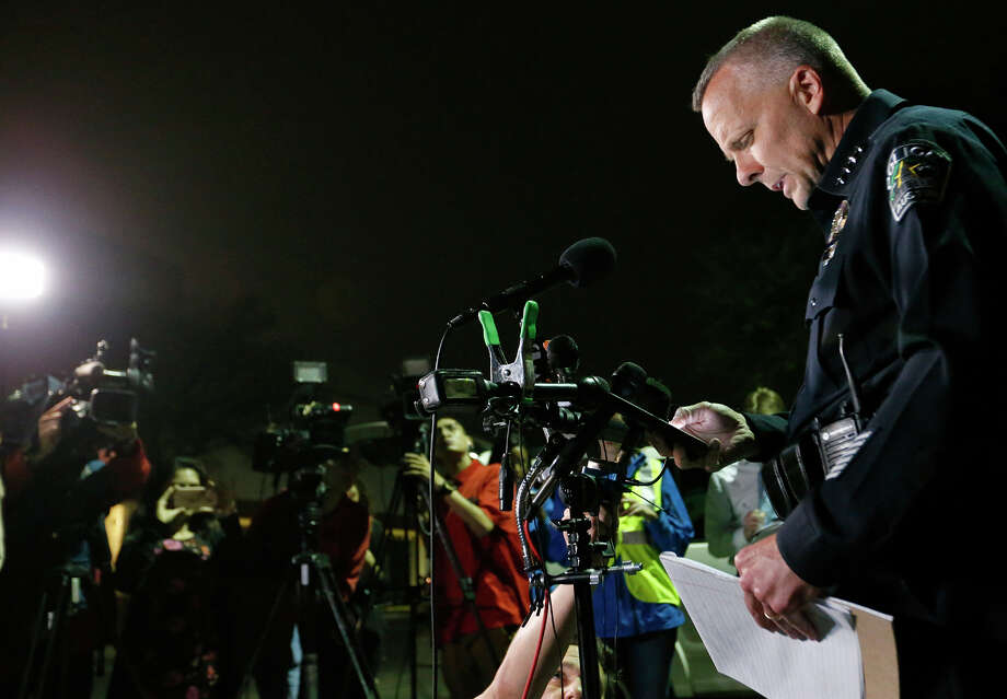 Interim Austin police chief Brian Manley speaks to the media, Monday March 19, 2018 in Austin, Tx., after another explosion. Photo: Edward A. Ornelas, San Antonio Express-News / © 2018 San Antonio Express-News