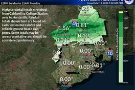The highest rainfall totals for March 18, 2018 stretched from Caldwell to College Station, according to the National Weather Service. Houston is expected to get some rain and possible thunderstorms in the morning on March 19, 2018, with the weather clearing up in the afternoon.