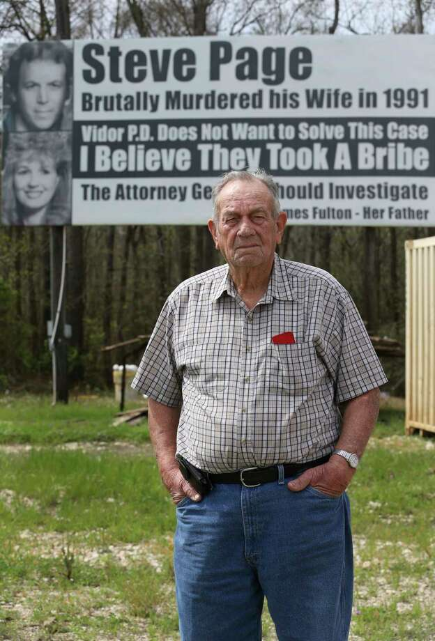 """James Fulton poses for a photograph in front of one of his billboards question the Vidor Police Department not working hard enough to solve the 1991 murder of his daughter, Kathy Page, by Interstate-10 westbound on Friday, March 2, 2018, in Rose City. Fulton started to put up billboards in the 1990s. Over the years, diffrent billboards have been installed by Fulton but his message remain the same. His billboards are believed to be the inspiration for the Oscar best picture-nominated film """"Three Billboards Outside Ebbing, Missouri."""" ( Yi-Chin Lee / Houston Chronicle ) Photo: Yi-Chin Lee, Staff / © 2018 Houston Chronicle"""