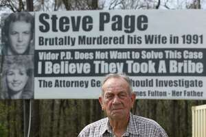 """James Fulton poses for a photograph in front of one of his billboards question the Vidor Police Department not working hard enough to solve the 1991 murder of his daughter, Kathy Page, by Interstate-10 westbound on Friday, March 2, 2018, in Rose City. Fulton started to put up billboards in the 1990s. Over the years, diffrent billboards have been installed by Fulton but his message remain the same. His billboards are believed to be the inspiration for the Oscar best picture-nominated film """"Three Billboards Outside Ebbing, Missouri."""" ( Yi-Chin Lee / Houston Chronicle )"""