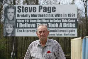 "James Fulton poses for a photograph in front of one of his billboards question the Vidor Police Department not working hard enough to solve the 1991 murder of his daughter, Kathy Page, by Interstate-10 westbound on Friday, March 2, 2018, in Rose City. Fulton started to put up billboards in the 1990s. Over the years, diffrent billboards have been installed by Fulton but his message remain the same. His billboards are believed to be the inspiration for the Oscar best picture-nominated film ""Three Billboards Outside Ebbing, Missouri."" ( Yi-Chin Lee / Houston Chronicle )"