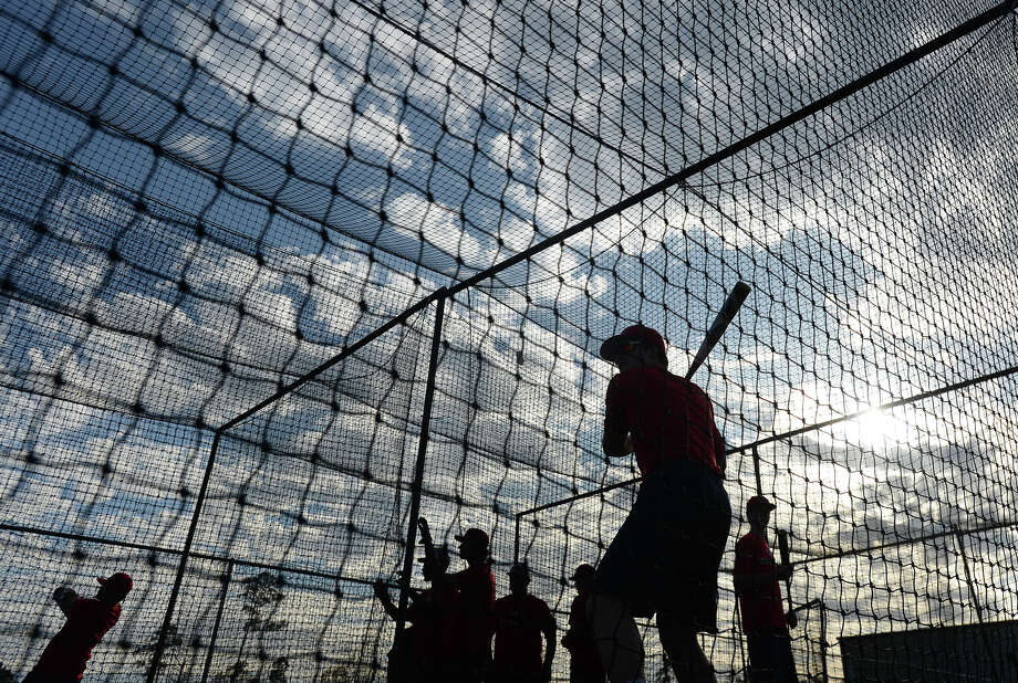 Hardin - Jefferson's varsity baseball team practices after school Monday. Neither the baseball nor softball fields have lights, meaning all games must be scheduled during daylight hours. Photo taken Monday, February 26, 2018 Kim Brent/The Enterprise Photo: Kim Brent / BEN