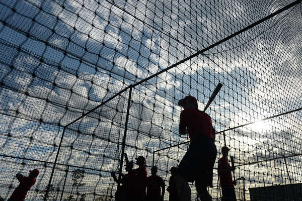 Hardin - Jefferson's varsity baseball team practices after school Monday. Neither the baseball nor softball fields have lights, meaning all games must be scheduled during daylight hours. Photo taken Monday, February 26, 2018 Kim Brent/The Enterprise