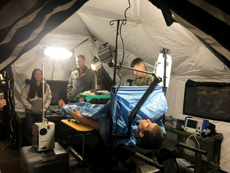 U.S. Army personnel from Creve Coeur and Fort Knox, Ky., set up a forward medical station in the Goshen Lounge at SIUE's Morris University Center last week. The intent was to show students that the Army offers a wide range of careers. Photo: Bill Tucker • Btucker@edwpub.net