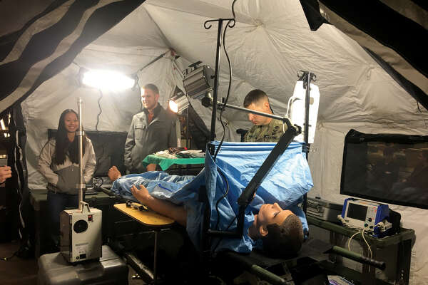 U.S. Army personnel from Creve Coeur and Fort Knox, Ky., set up a forward medical station in the Goshen Lounge at SIUE's Morris University Center last week. The intent was to show students that the Army offers a wide range of careers.