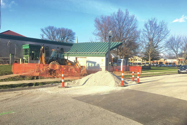 Work is underway on the new restroom facility in Edwardsville City Park. With so many events now taking place in the park, the new restroom will replace the portable toilets that have been used in the past. The new facility is being constructed behind the bandstand.