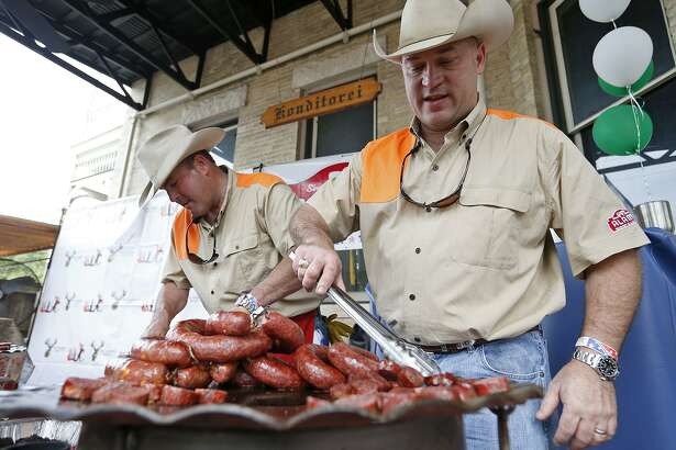 Alamo Market and Lockers co-owners John Canaan and David White prepare samples during the first Wild Game Sausage Showdown at Beethoven Maennerchor in 2018. The event returns March 3.