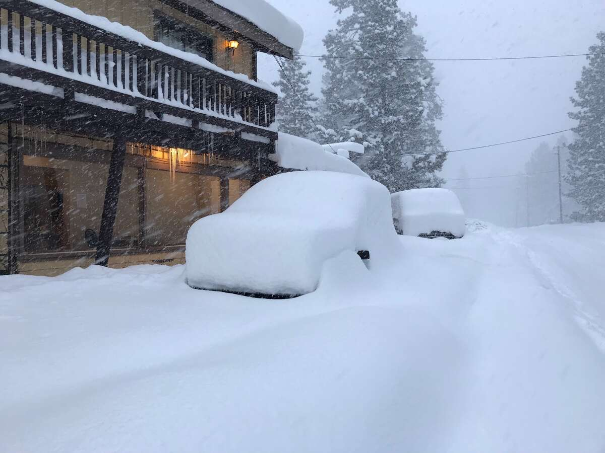 Snow piled up in the Tahoe area amid a big storm on March 16, 2018.